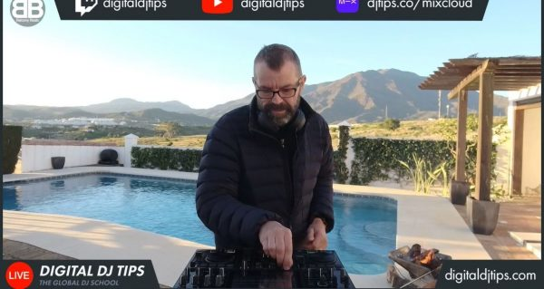 Playing a livestream set next to pool during late summer
