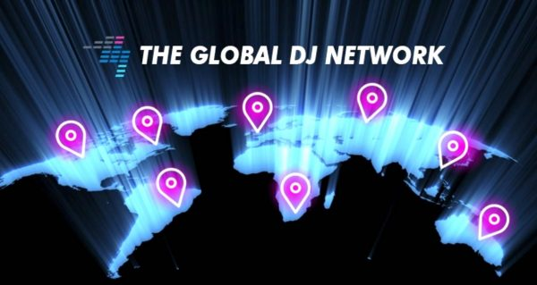 Graphic showcasing a globe with pins on different countries, with text that says The Global DJ Network