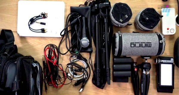 Variety of cables and other gear on a table