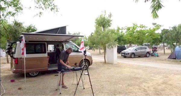 DJing outside camper van