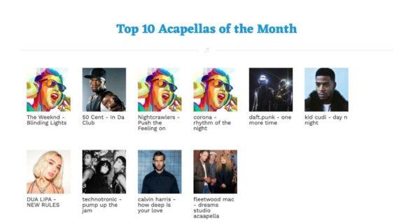 Acapellas 4 U top ten downloads
