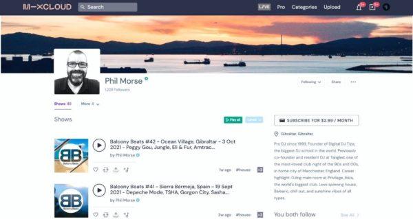Snapshot of Phil Morse's Mixcloud profile