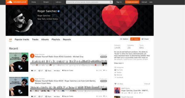 Snapshot of DJ Roger Sanchez's Soundcloud profile